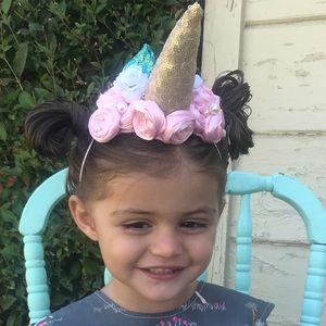 New Girls Unicorn headband pink & blue flowers